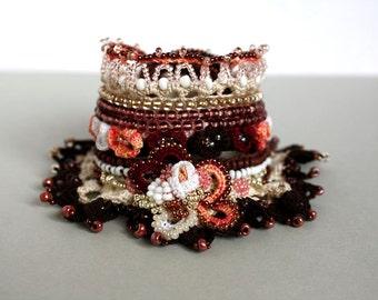 Gift for Her, Unique Gift, Crochet Cuff, Summer Fashion,  Beaded Bracelet, Crochet Jewelry, Dark Red Pink Cuff, Crochet Lace Bracelet