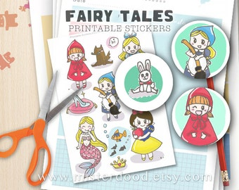 FAIRY TALES Printable Sticker, Princess Disney Girls, Cinderella Alice Wonderland Mermaid, Cute Doodle, Handdrawn Clipart, Instant Download