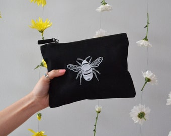 Bee embroidered black make-up, accessory,purse bag