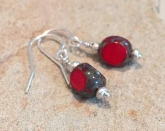 Red drop earrings, Czech bead earrings, Hill Tribe silver earrings, dangle earrings, silver drop earrings, gift for her, gift for wife