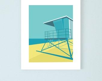 Lifeguard Tower print , 8x10, beach wall art, beach print, beach decoration, wall decor