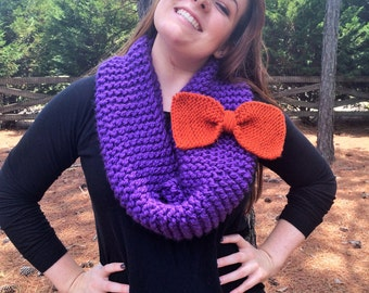 Knitted Loop Circle Infinity Scarf with Bow // Passion Purple & Terracotta Orange // Collegiate