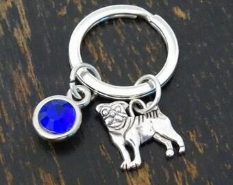Pug Keychain, Custom Keychain, Custom Key Ring, Pug Key Chain, Pug Charm, Pug Pendant, Pug Jewelry, Pug Dog, Pug Lovers, Pug Gift, Dog Lover