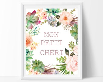 French quotes, French print, Mon petit cheri, French decor, Paris decor, Paris print