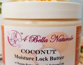 Coconut Moisture Lock Butter Conditioner 12 oz jar, Handcrafted, Natural, Organic, Hair Butter, Hair Conditioner, Moisturizer