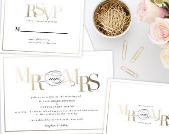 Mr. and Mrs. Wedding Invitation Suite | Printable