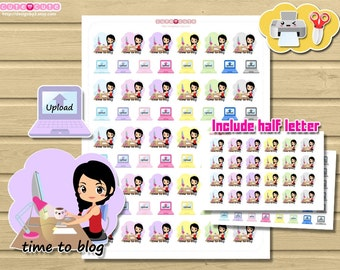 Chic Blogging Printable Stickers for use on Happy planner, filofax, kikki k, etc  Kawaii Print and Cut stickers Write blog and Upload.