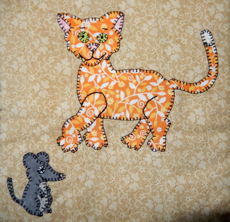 Cat And Mouse Pdf Applique Pattern Farm Animal Applique