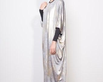 Final sale, Djellaba, Lurex dress, Silver dress, Evening dress, Jalabiyah, Oversized dress, Boho dress, Galabieh, Galabiya