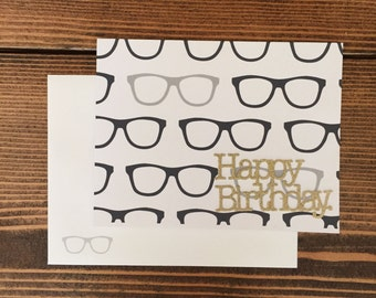 Greeting Card   Happy Birthday   Geek Glasses
