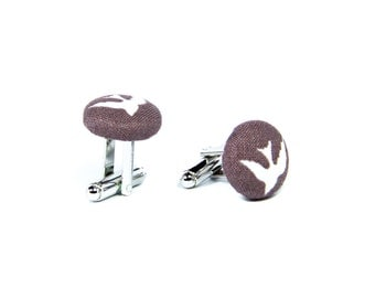 Brown cufflinks with white birdies Men's cufflinks Fabric covered cufflinks Cotton cuff links Mens jewelry