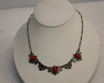 Antique Costume Jewelry - Gorgeous Classic Art Nouveau Necklace With Red Enamel Stones