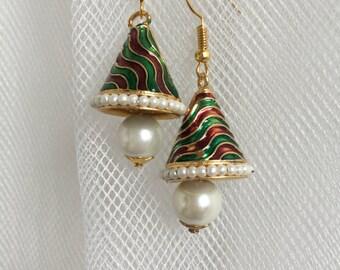 Pearl Enamel work Earrings | Red & Green Earrings