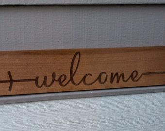 "Cedar Wood Sign ""Welcome"""
