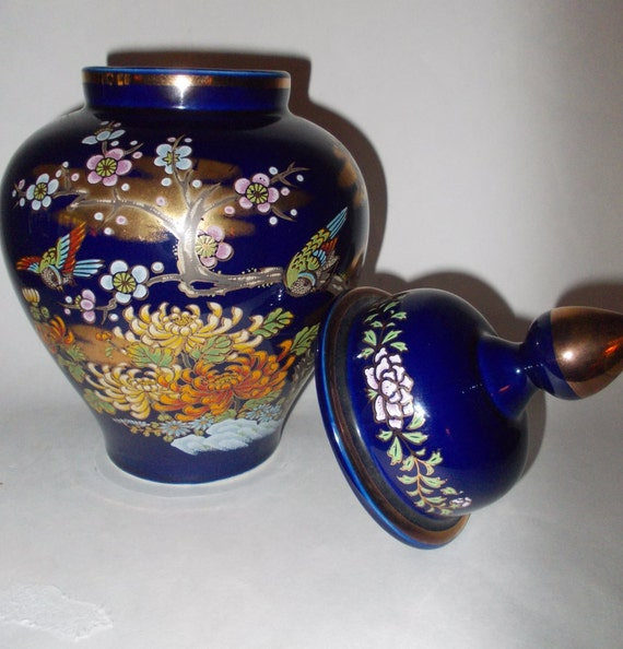 Vintage Large Japanese Cobalt Blue Porcelain Vase By Onemotime
