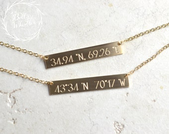 Coordinates Necklace, Location necklace, Bar Necklace, Gold Bar Necklace, Wedding Gift, Anniversary Gift