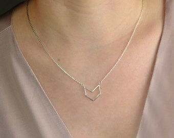 Chevron Necklace / Sterling Silver, Gold, Rose Gold / Delicate Necklace / Layering Necklace