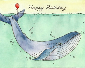 Whale Happy Birthday Card