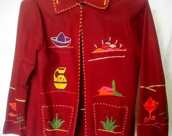 1950's burgundy embellished Mexican tourist jacket, excellent condition, size small/med