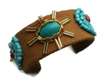 Women's Brown Cuff Bracelet- Ethnic Bracelet- Bead Embroidered Bracelet - Aztec Leather Bracelet- Ethnic Jewelry - Best Girlfriend Gift -