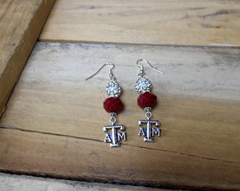Texas Aggies, Aggie Gift, Texas A & M, Texas ATM, Graduation Gift, Maroon White, University, College, Aggie Jewelry,  Accessories, Gig 'em