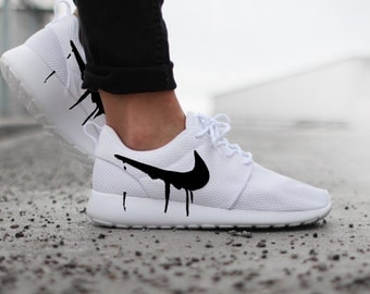 Nike Roshe White with Custom Black Candy Drip Swoosh Paint