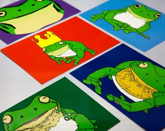 Stickyfrogs Postcards, Glossy Note Cards - Set of 10 - 5 Frog Design Prints