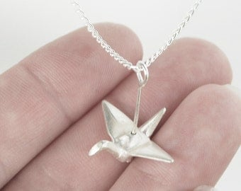 Origami Crane Pendant in Sterling Silver