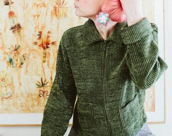 Green Corduroy Jacket with Zipper