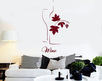 Wall Vinyl Decal Wine Quote Bottle Glass Sketch Winery Wine Grapes Decor Restaurant Kitchen Home Decor (#1224dz)