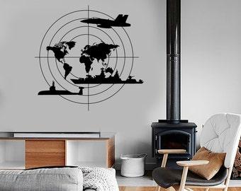 Wall Vinyl Warship Submarine Aircraft Guaranteed Quality Decal Mural Art 1639dz