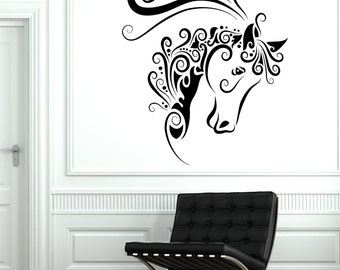 Wall Decal Animal Horse Mustang Ornament Tribal Mural Vinyl Decal 1704dz