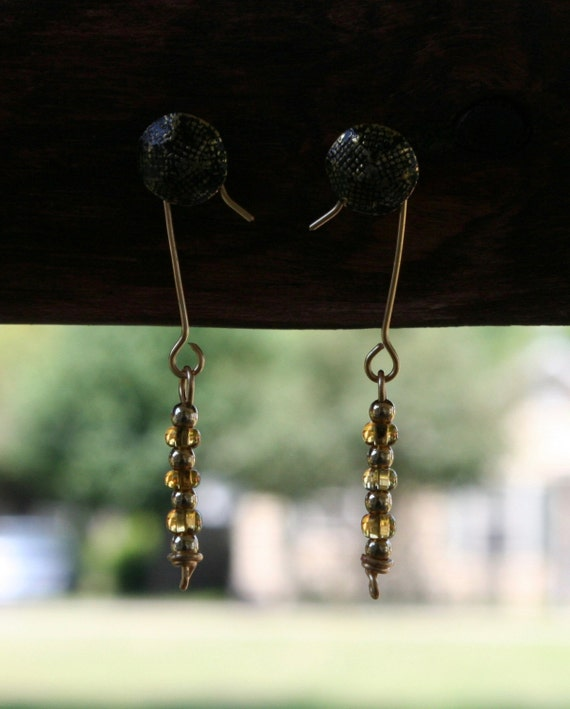 Gold and Honey Beaded Earrings (L4)