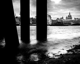 London Skyline Print - London Black and White, London Decor, St Pauls Cathedral, London Print - London Photography Print