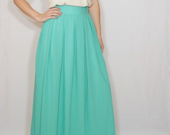 Women maxi skirt Long turquoise skirt Chiffon skirt High waisted maxi skirt with pockets