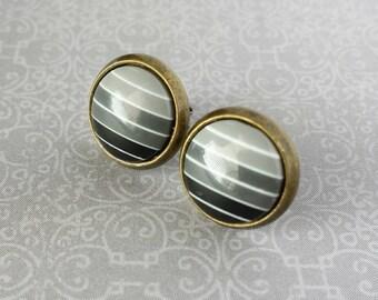 Grey Stripe Stud Earrings (10mm) Bronze