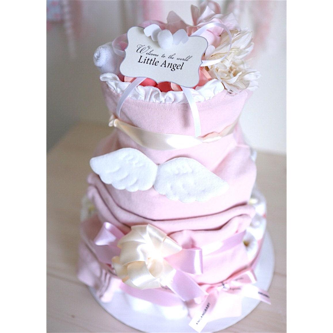Angel Wings Diaper Cake For Baby Girl Baby Shower