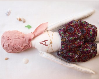 Girl ragdoll with purple swimsuit & floral bikini top, Plush art doll, Summer gift, Child art doll, Handmade fabric doll, Girl plush