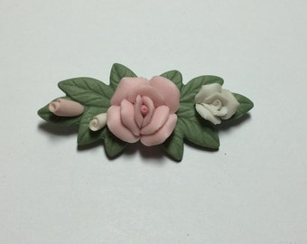 Ceramic Flowers and Leaves Brooch Pin 9372