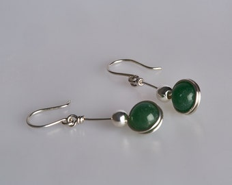 Green Aventurine and Sterling Silver Earrings with Sterling Silver Beads