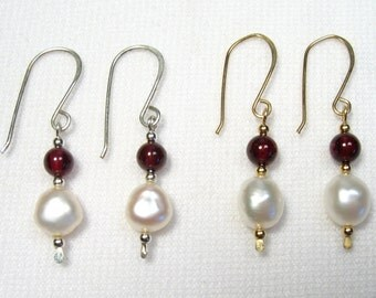 Lyn's Jewelry Garnet and Freshwater Pearl Drop Earrings Silver or Gold