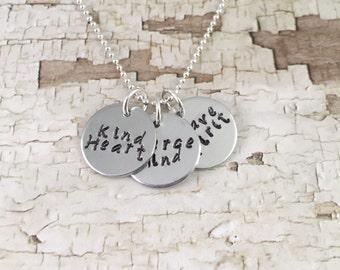 Silver Disc necklace, trendy necklace, simple words necklace, Fierce Mind, Brave Spirit, Kind Heart, hand stamped necklace