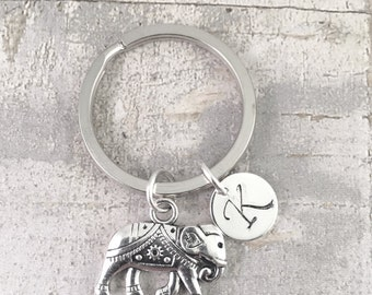 Elephant charm keychain, best friend keychain, good luck elephant, gift for her, friend gift, mother gift, daughter gift