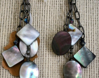 Mother of Pearl Cluster Earrings