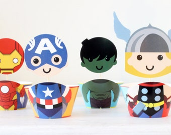 Avengers Superhero Cupcake Toppers & Wrappers. Party Decoration. Boy Birthday Party, Party Supplies, Superhero Party, Superheroes 24 pcs