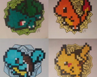 Pokémon pixel art print