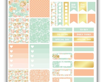 Peach & Mint Floral weekly stickers kit | Themed weekly kit | Erin Condren vertical theme weekly kit | Weekly stickers