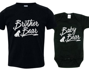 Big Brother Bear Shirt Set Baby Bear Shirt SET Bodysuit Shirt Toddler Youth