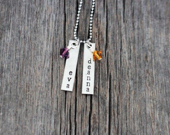 Bar style mommy necklace with 2 names and 2 Swarovski crystal birthstone charms, hand stamped vertically