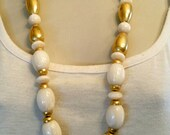 Vintage Napier Faux Ivory and Gold Necklace